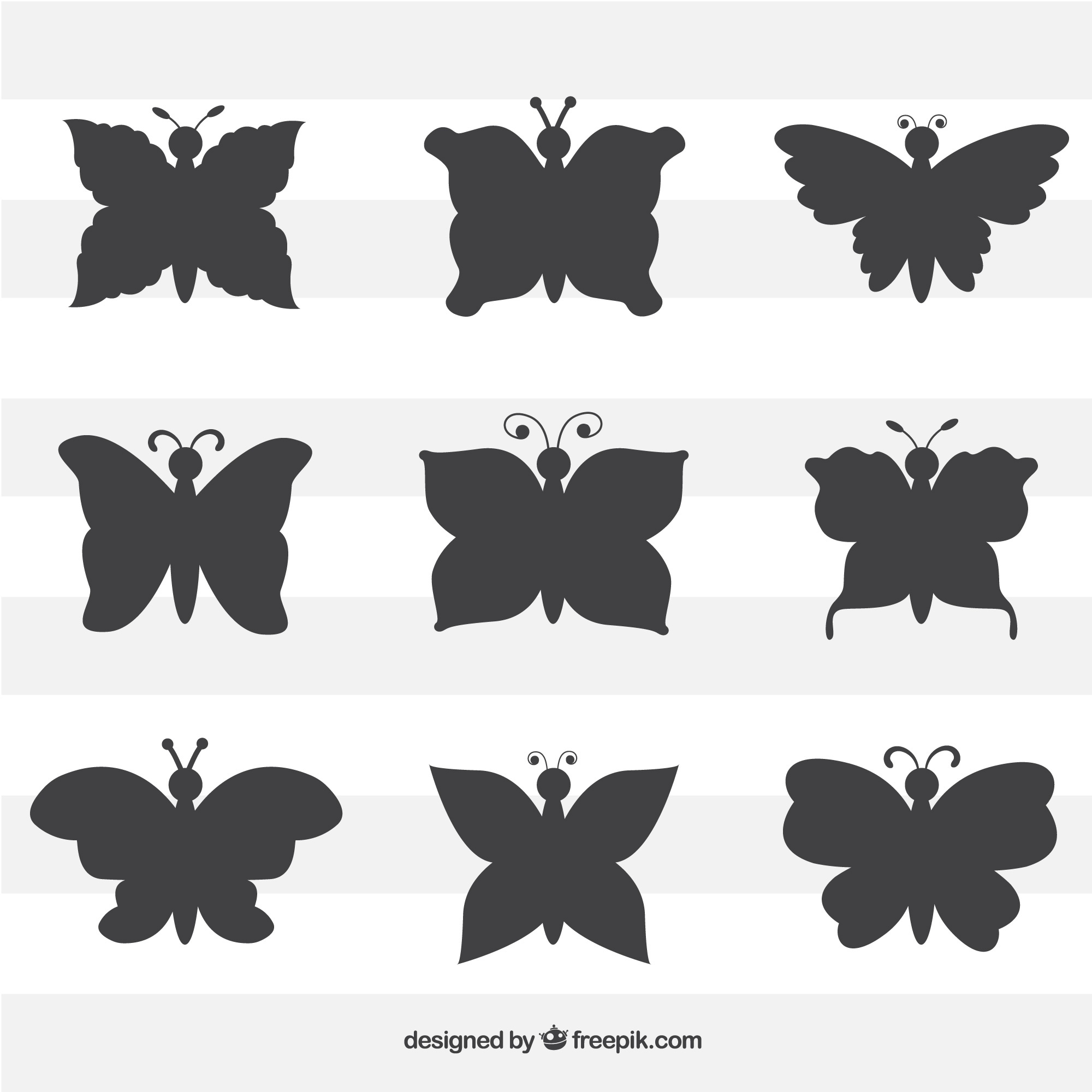 Pack of butterflies silhouettes