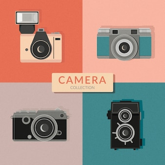 Pack of cameras in vintage style