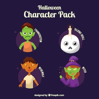 Pack of characters ready to celebrate halloween