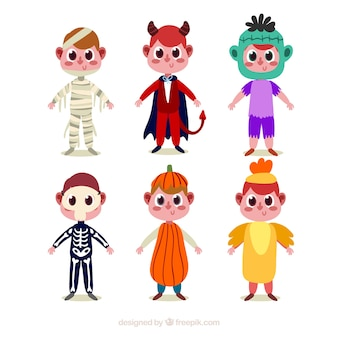 Pack of children characters with halloween costumes
