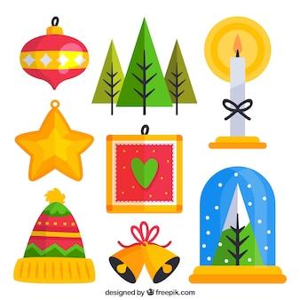 フラットデザインのクリスマスの要素のパック