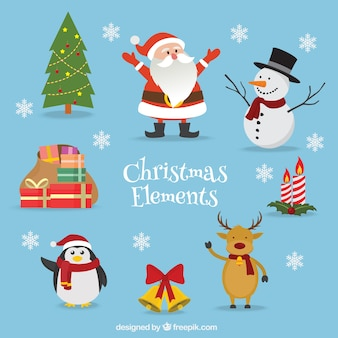 Pack of christmas elements with lovely characters