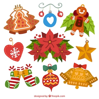 Pack of christmas ornamental elements