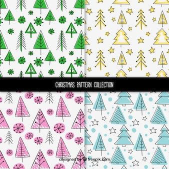 Pack of christmas patterns with trees