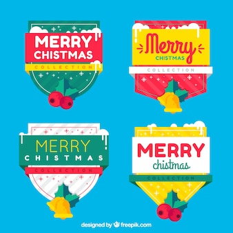 Pack of christmas stickers in flat design