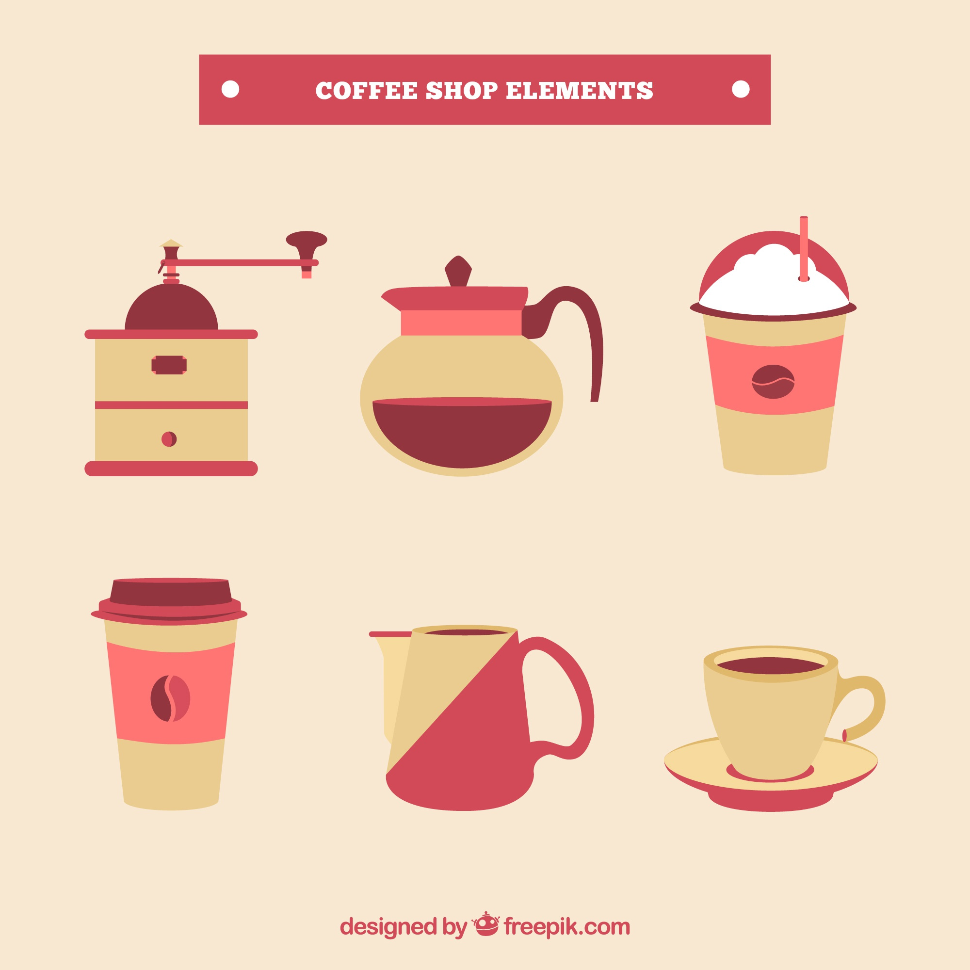 Pack of coffee elements in flat design