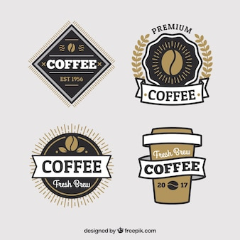 Pack of coffee stickers in retro style