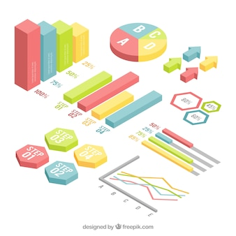 Pack of color charts in isometric style