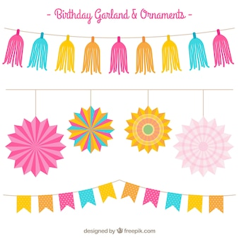 Pack of colored birthday party garlands