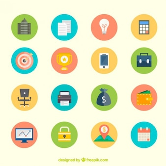 Pack of colored business icons