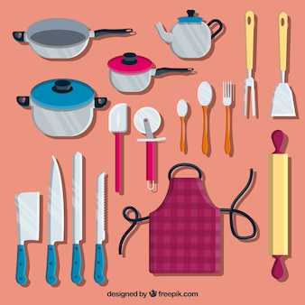 Pack of colored chef items