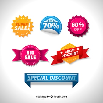 Pack of colored labels with special discounts