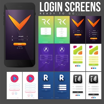 Pack of colored login screens