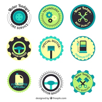 Pack of colored motorcycle badges in flat style