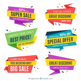 Pack of colored origami sale banners