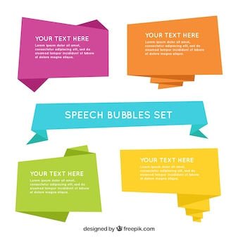 Pack of colored origami speech bubbles