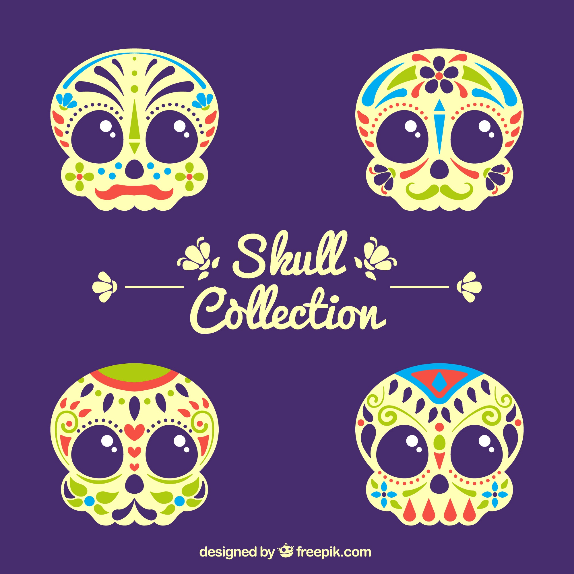 Pack of colored ornamental skulls
