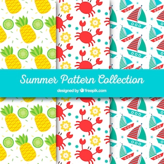 Pack of colored patterns with summer objects