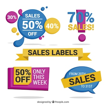 Pack of colored sales stickers