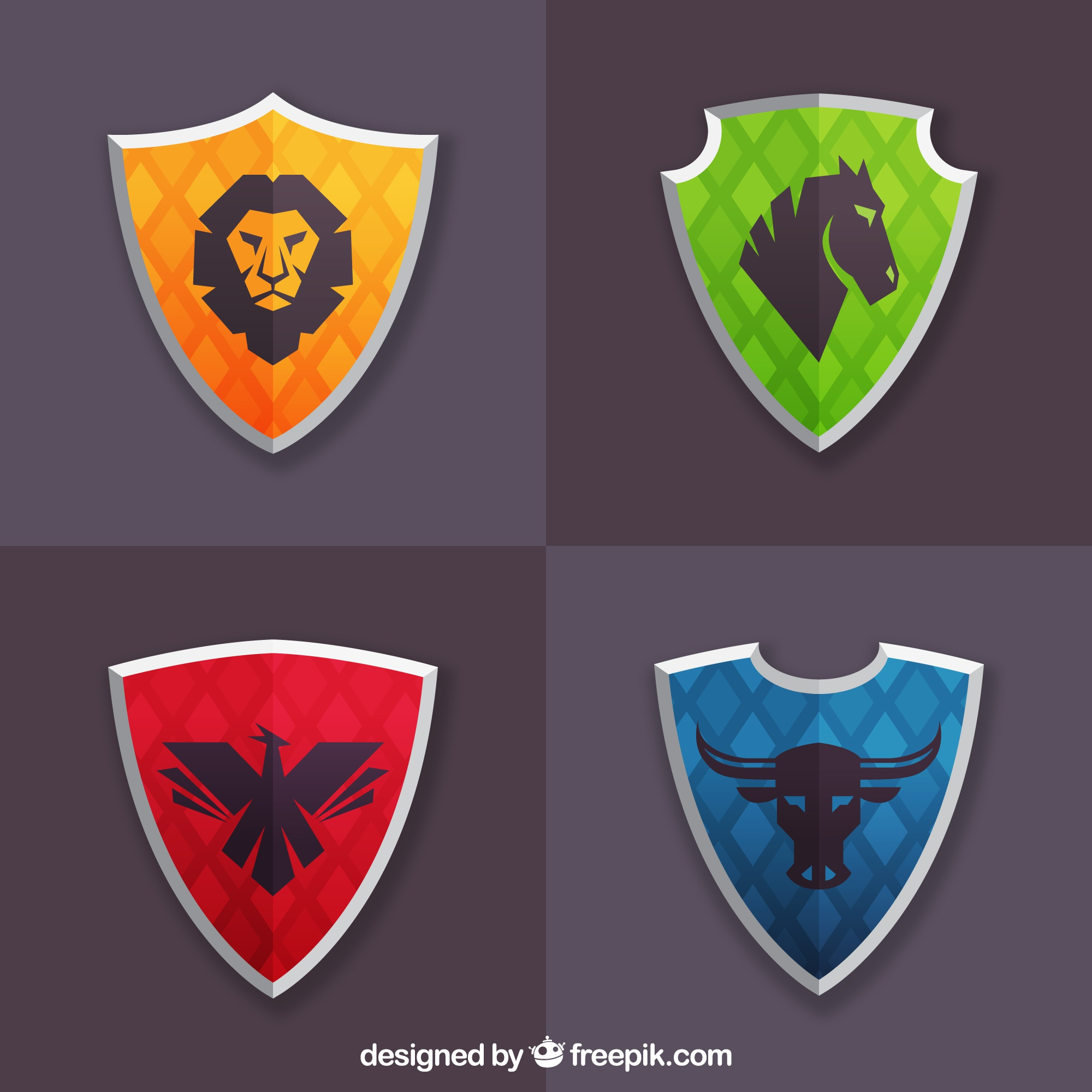 Pack of colored shields with animals