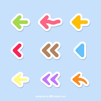 Pack of colorful arrow stickers