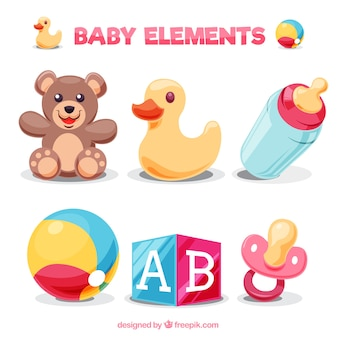 Pack of colorful baby elements