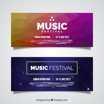 Pack of colorful banners of music festival