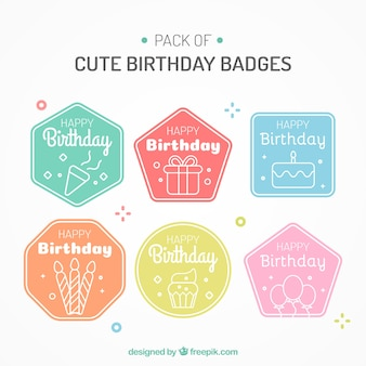 Pack of colorful birthday stickers in linear style
