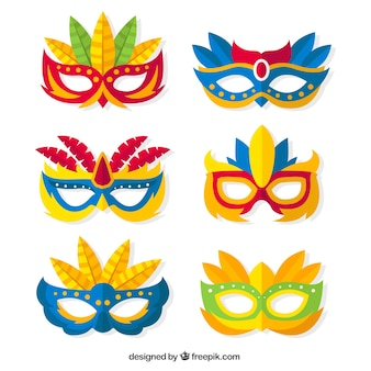 Pack of colorful carnival masks in flat design
