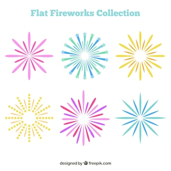 Pack of colorful fireworks in flat design
