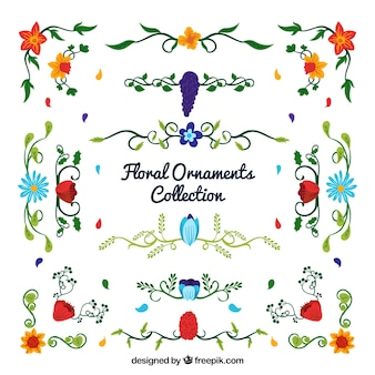 Pack of colorful floral ornaments