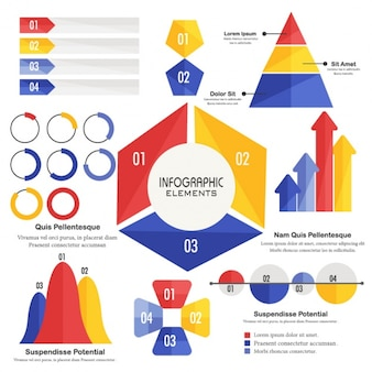 Pack of colorful geometric elements for infographics