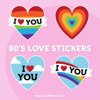 Pack of colorful love hearts stickers