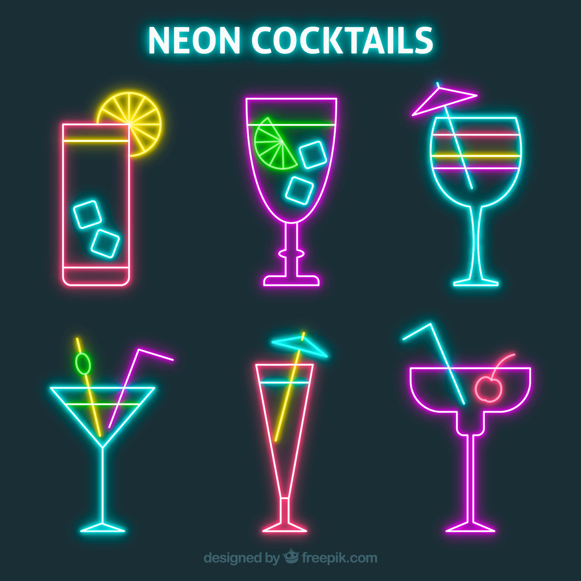 Pack of colorful neon cocktails