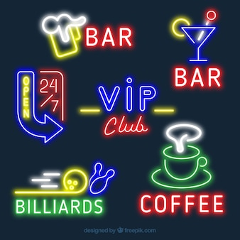 Pack of colorful neon signages