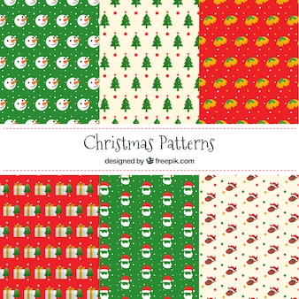 Pack of colorful patterns with christmas elements