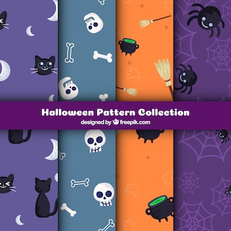 Pack of colorful patterns with halloween elements