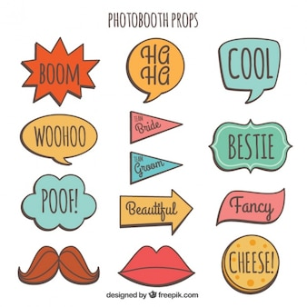 Pack of colorful signs for weddings
