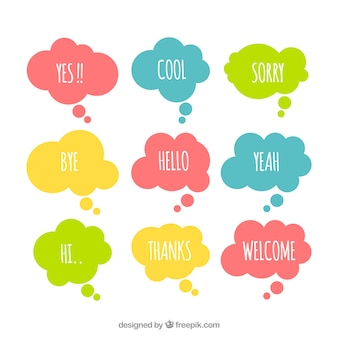 Pack of colorful speech bubbles with words