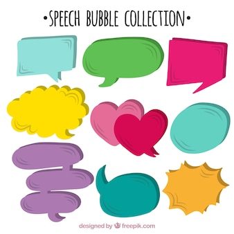 Pack of colorful speech bubbles