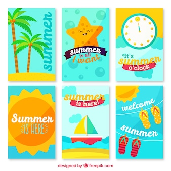 Pack of colorful summer nice cards