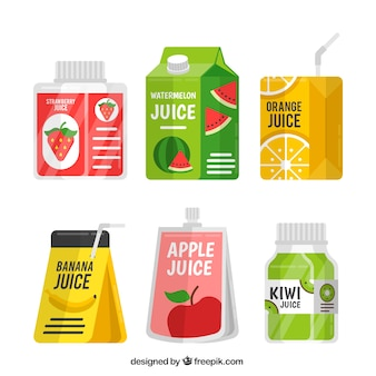 Pack of containers with fruit juice