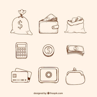 Pack of currency and other money items