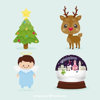 Pack of cute christmas characters with decorative elements
