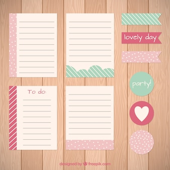 Pack of cute sheets and labels for scrapbooking