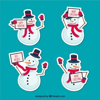 Pack of cute snowmen stickers with christmas message