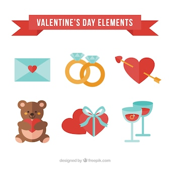Pack of cute valentine elements
