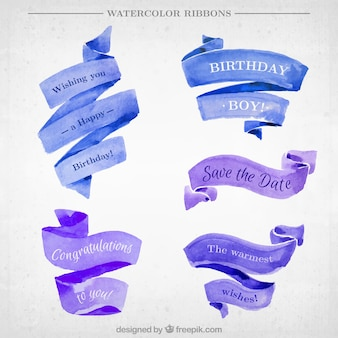 Pack of cute watercolor ribbons with messages