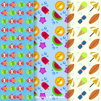 Pack of decorative and cheerful summer patterns