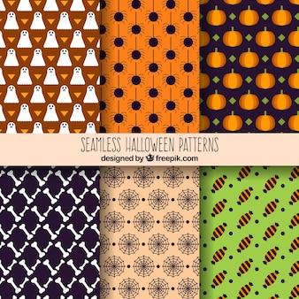 装飾的な幾何学的なハロウィーンのパターンのパック